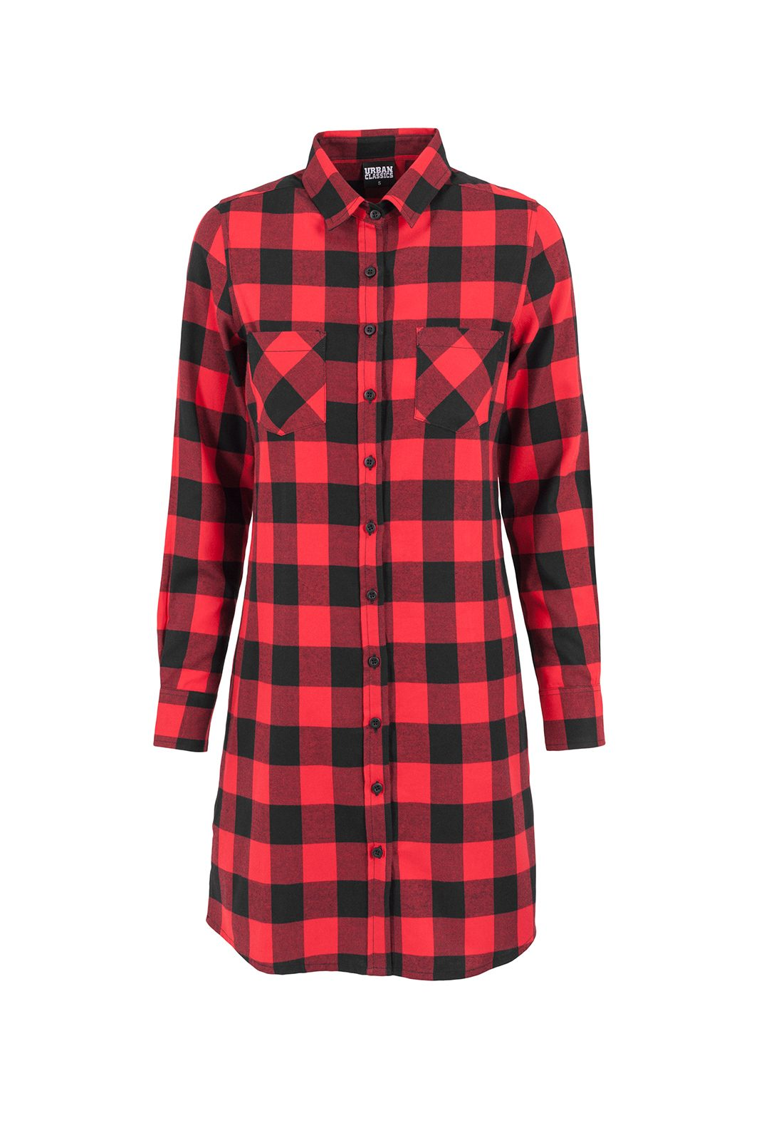 Ladies Checked Flanell Shirt Dress Red