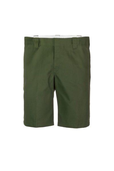 "11"" Slim Straight Work Shorts Olive Green"
