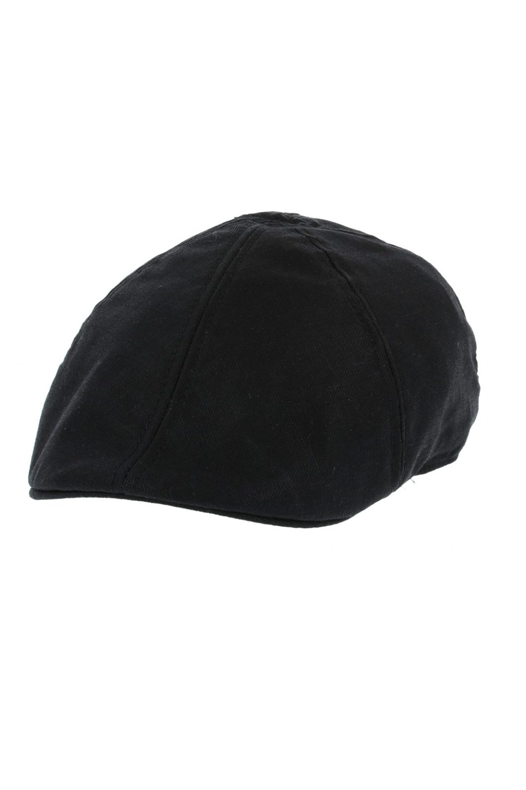 Linen Six Panel Flat Cap Black