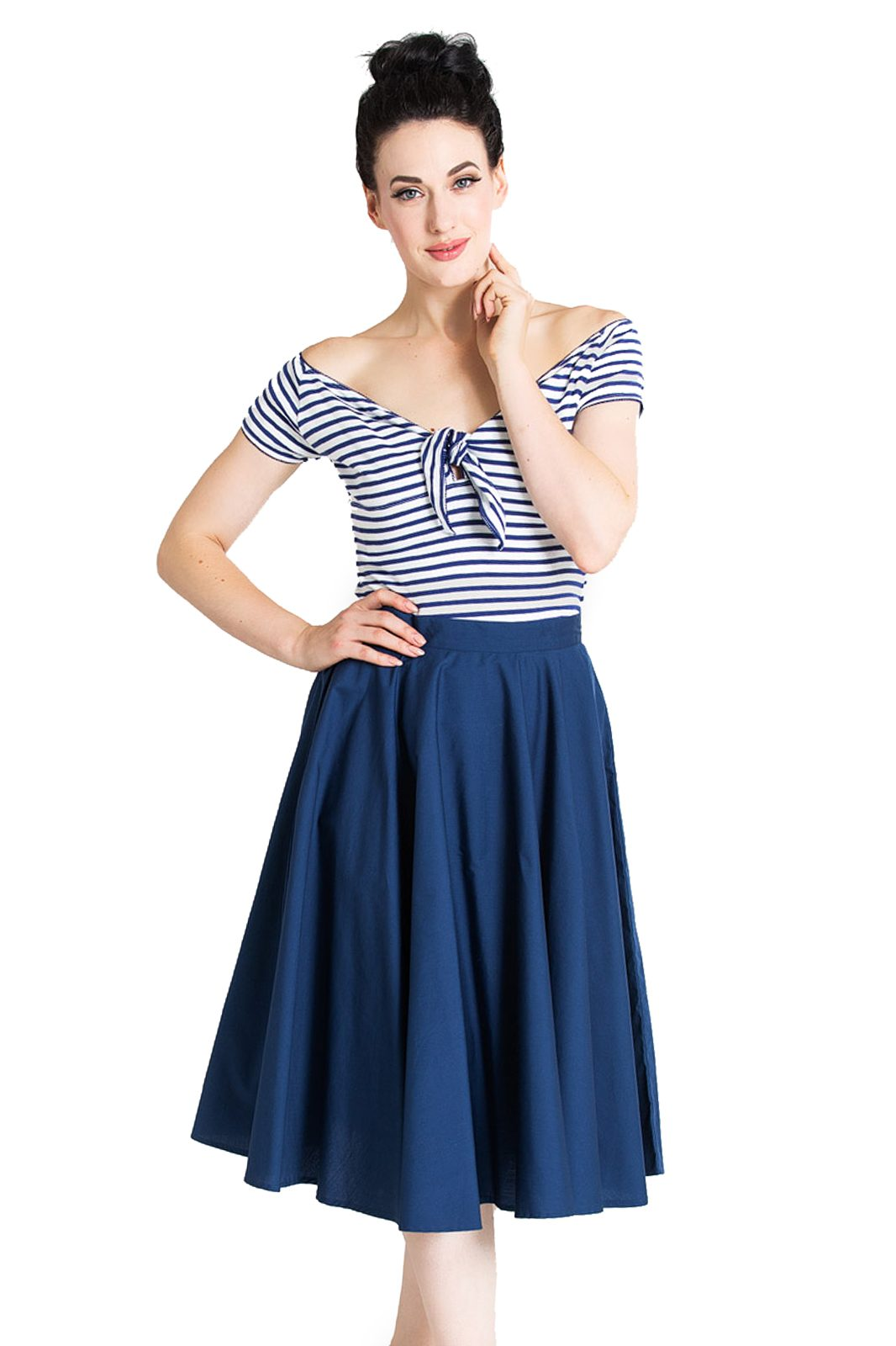 Paula 50s Skirt Navy Blue
