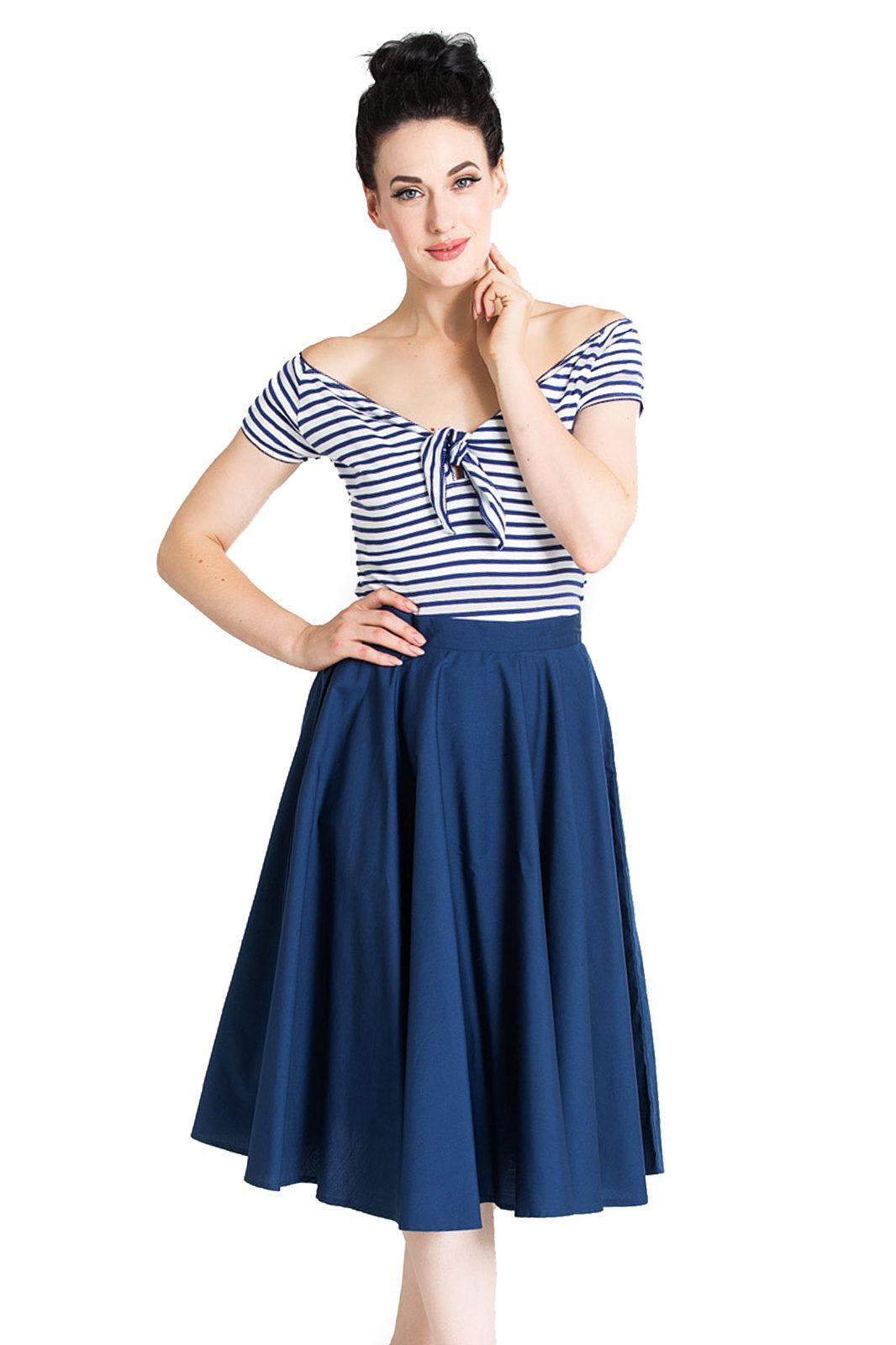 Paula 50s Skirt Navy Blue
