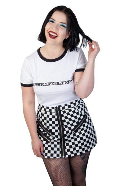 Checker Board Skirt Black