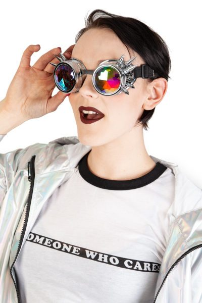 Chrome Spiked Kelidoscope Goggles