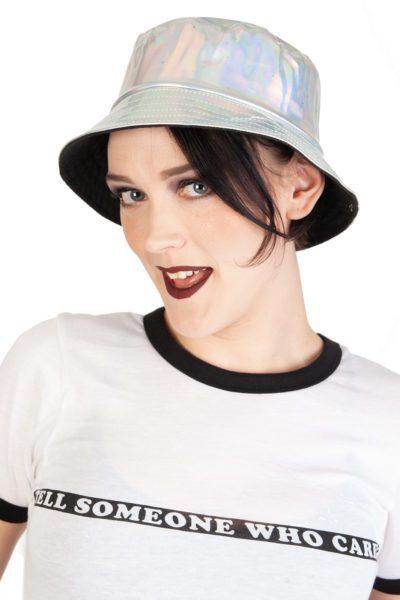 Silver Holographic PVC Sun Hat