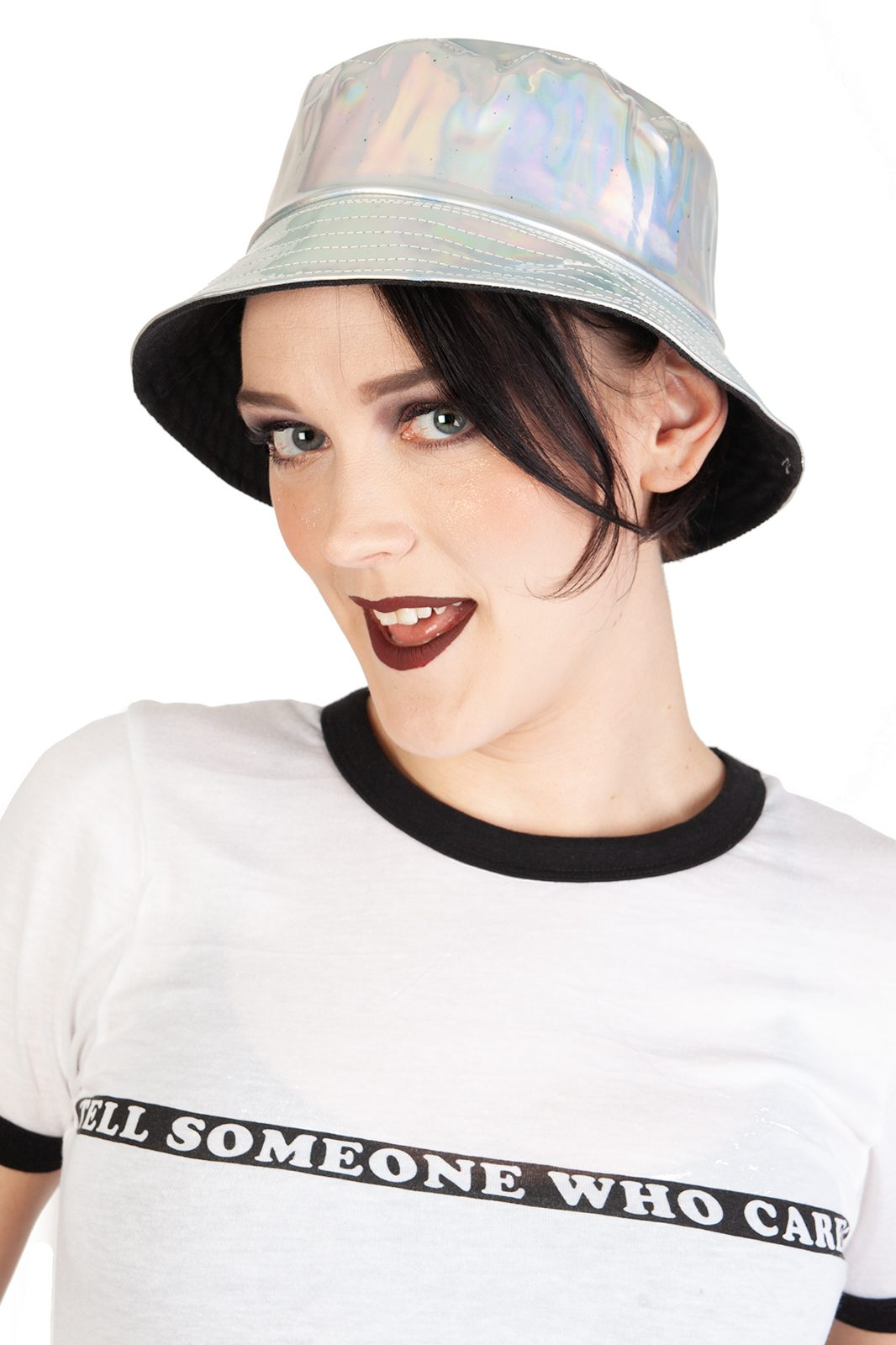 Silver Holographic PVC Sun Hat