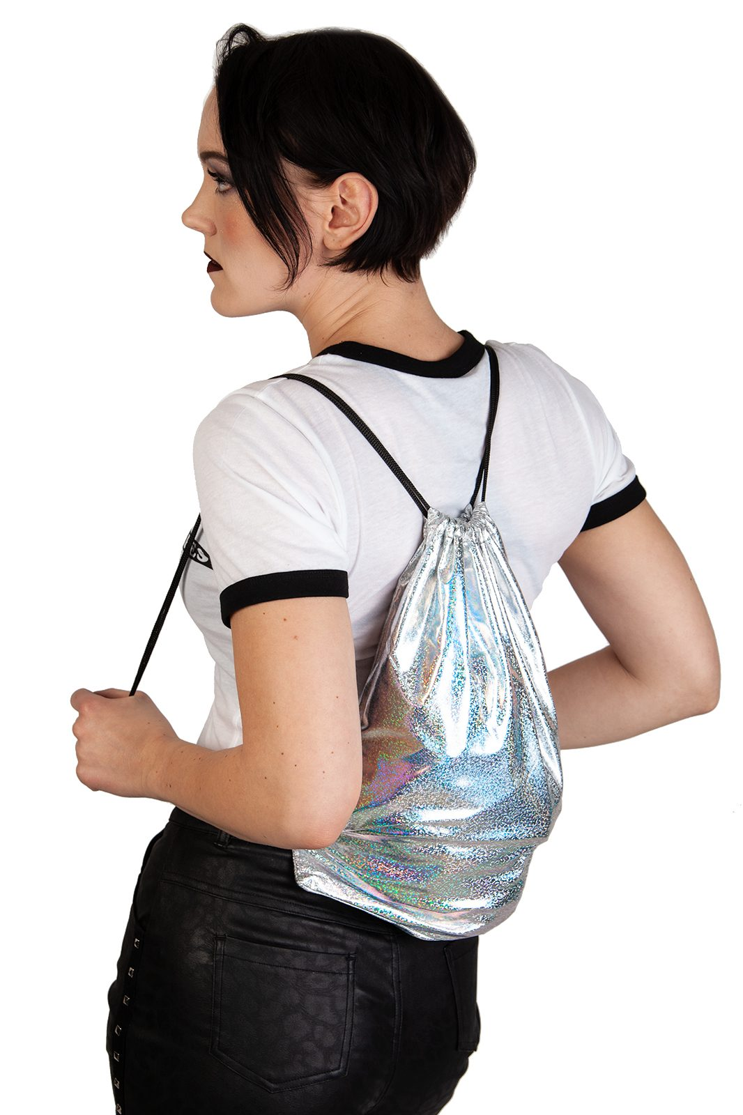 Shiny Silver String Bag