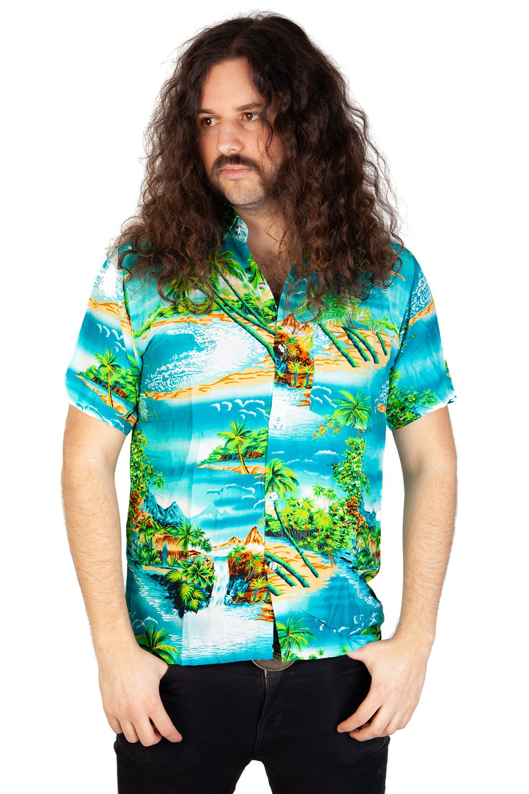 Hawaii Shirt Aqua Waterfall Blue