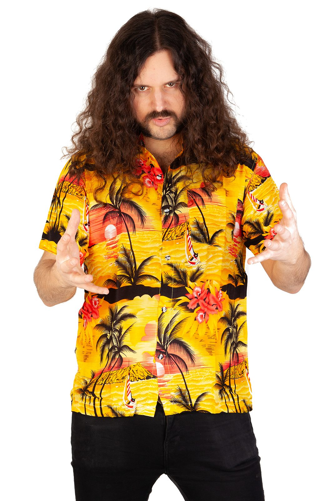 Hawaii Shirt Palm Tree Yatch Yellow