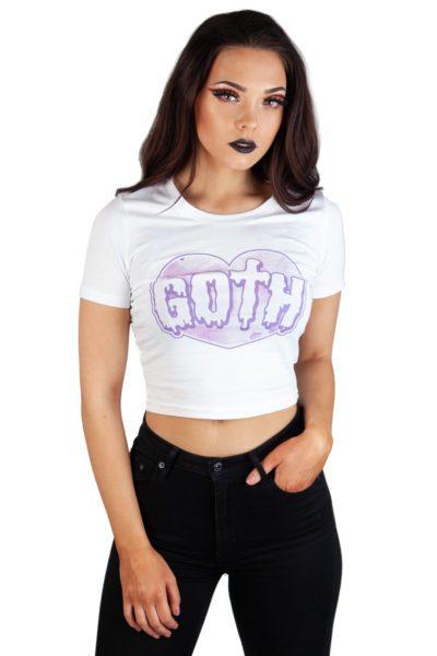 Pastel Goth Crop Top White