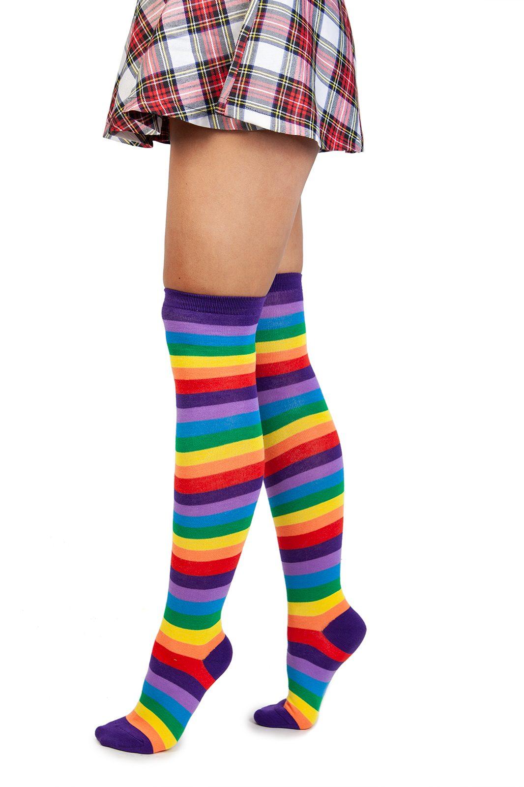 Rainbow Striped Welly Socks