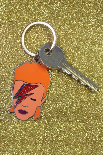 David Bowie Enamel Keyring