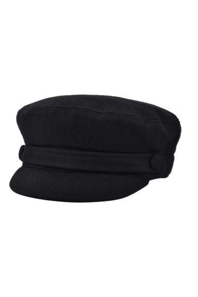 G&H Wool Breton Fiddler Cap Black