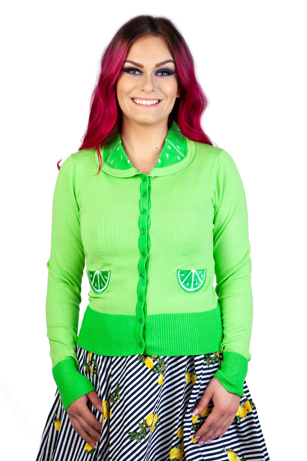 Izzy Lime Cardigan Green