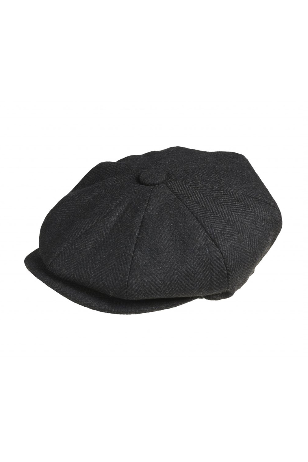 Wool Newsboy Cap Herringbone Black