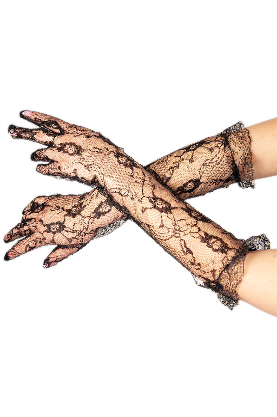 Lace Long Gloves Black