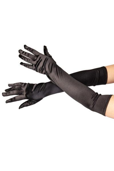 Satin Long Gloves Black