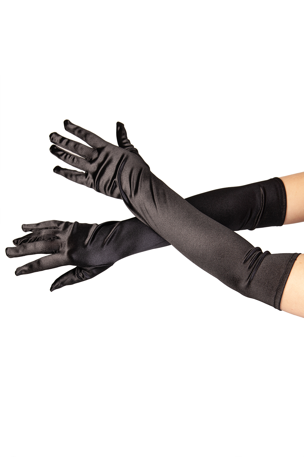 Satin Long Gloves Black