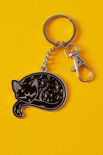 Mystical Cat Enamel keyring