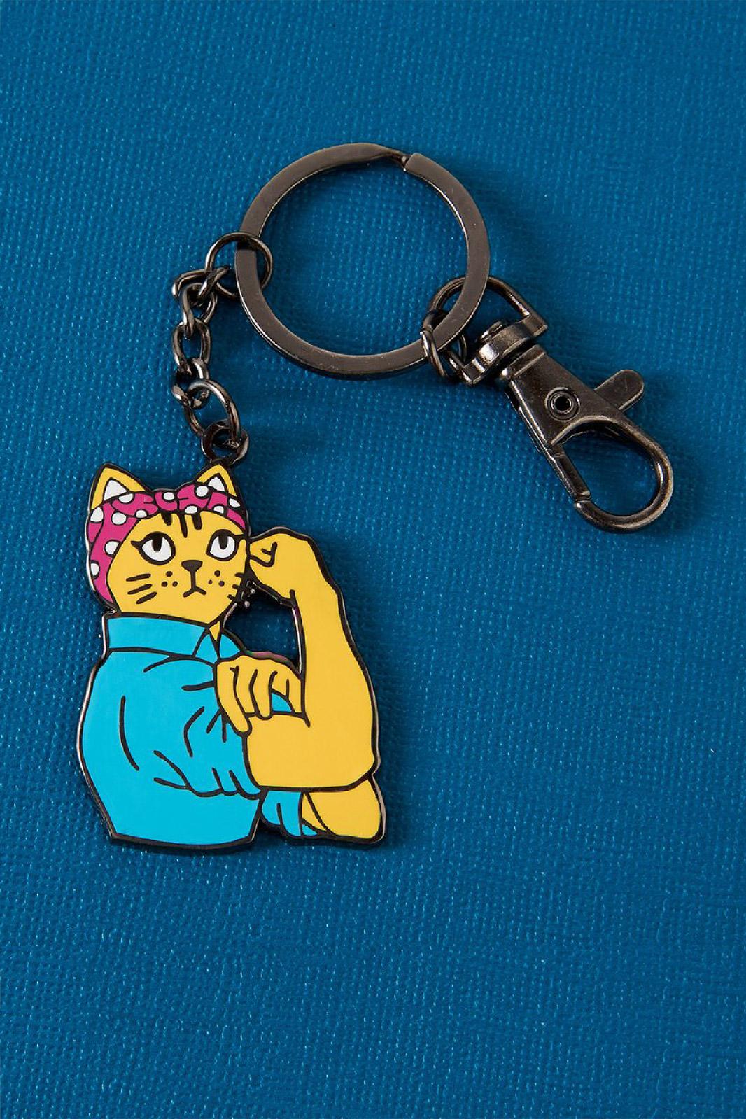 Rosie Riveter Cat Enamel Keyring