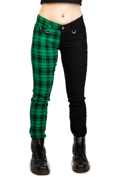Half Check Skinny Jeans Green