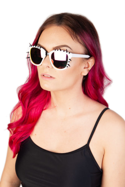 Spiked Out White Sunglasses