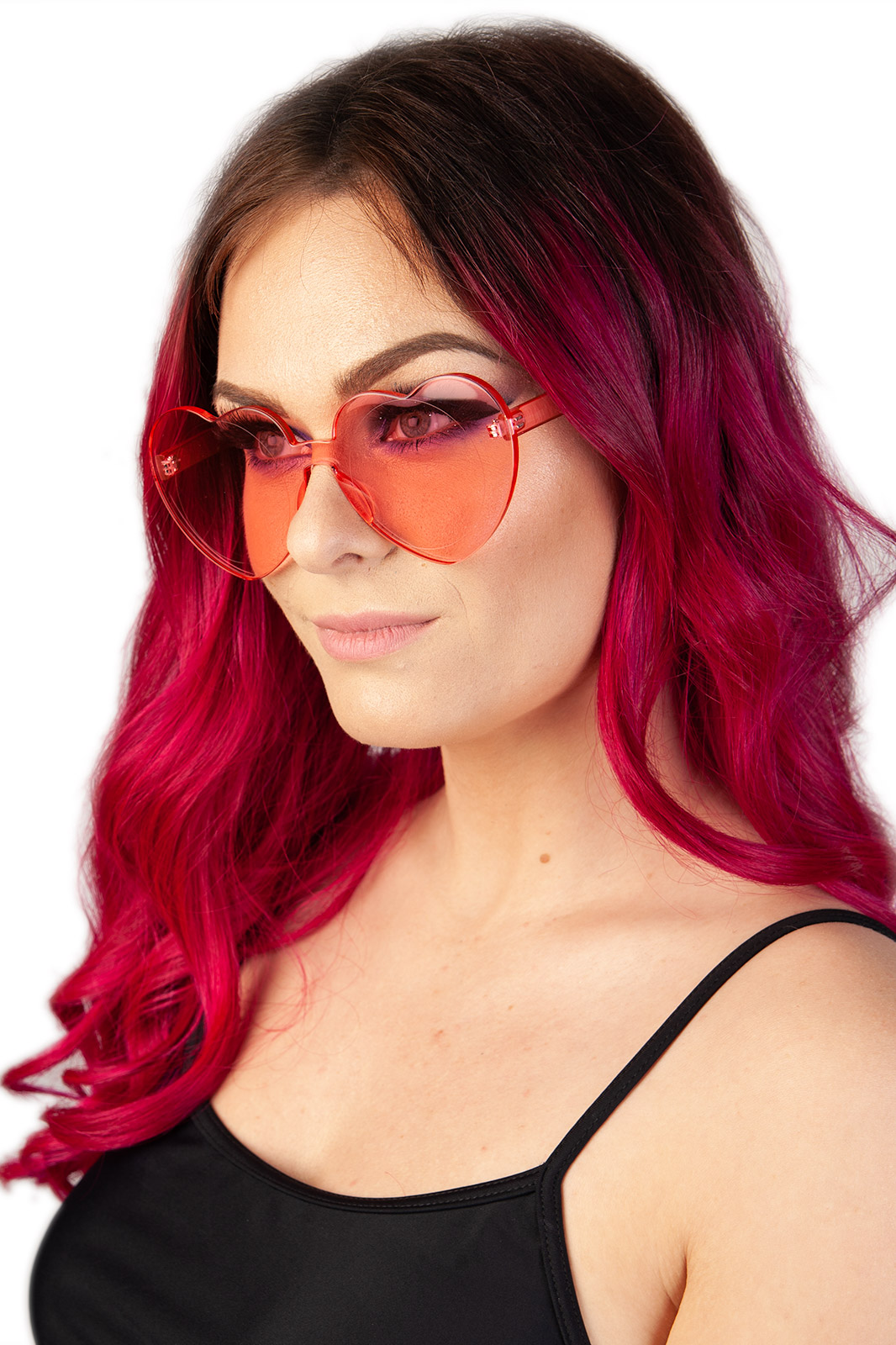 Breaking Hearts Perspex Sunglasses Pink
