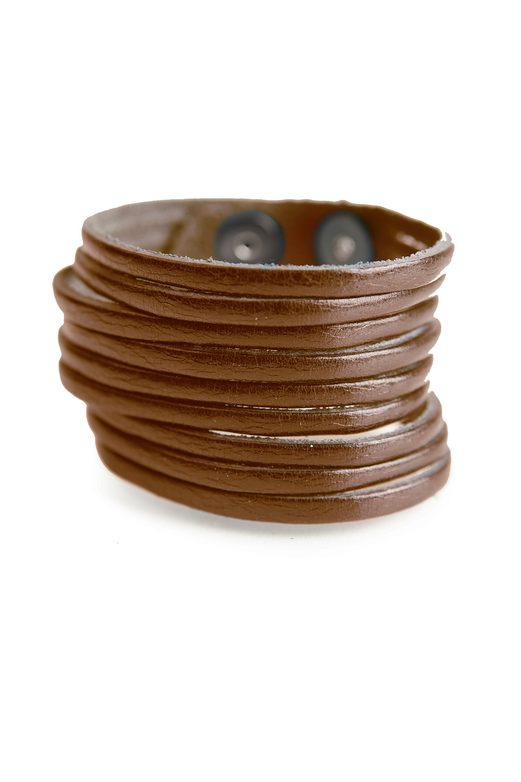 40mm Soft Leather Cut Wristband Brown