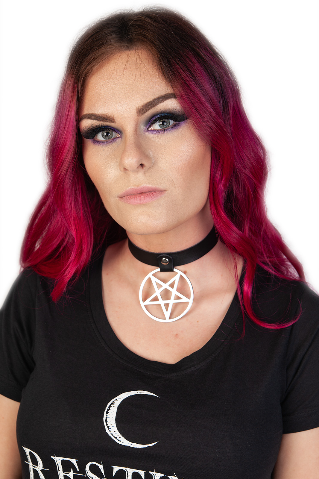 Pentagram Drop Choker Black
