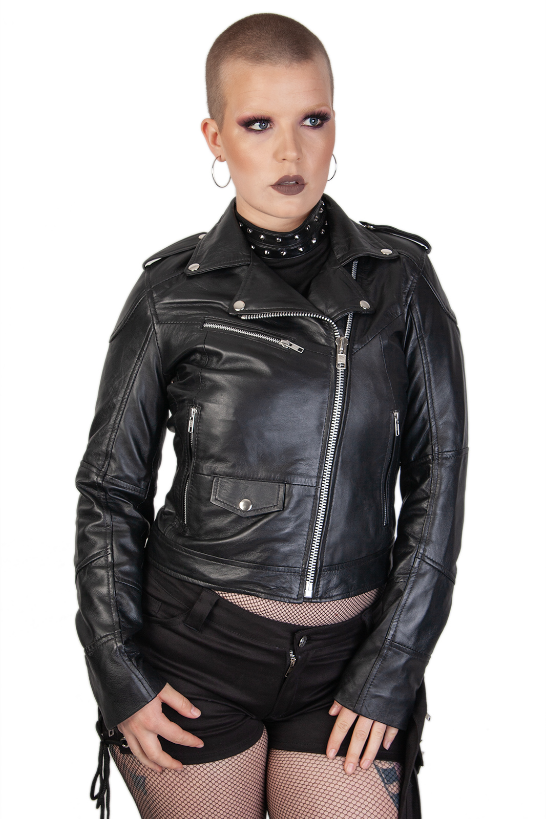 Real Leather Jacker Girls Black