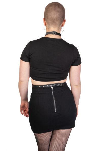 O Ring Denim Skirt Black