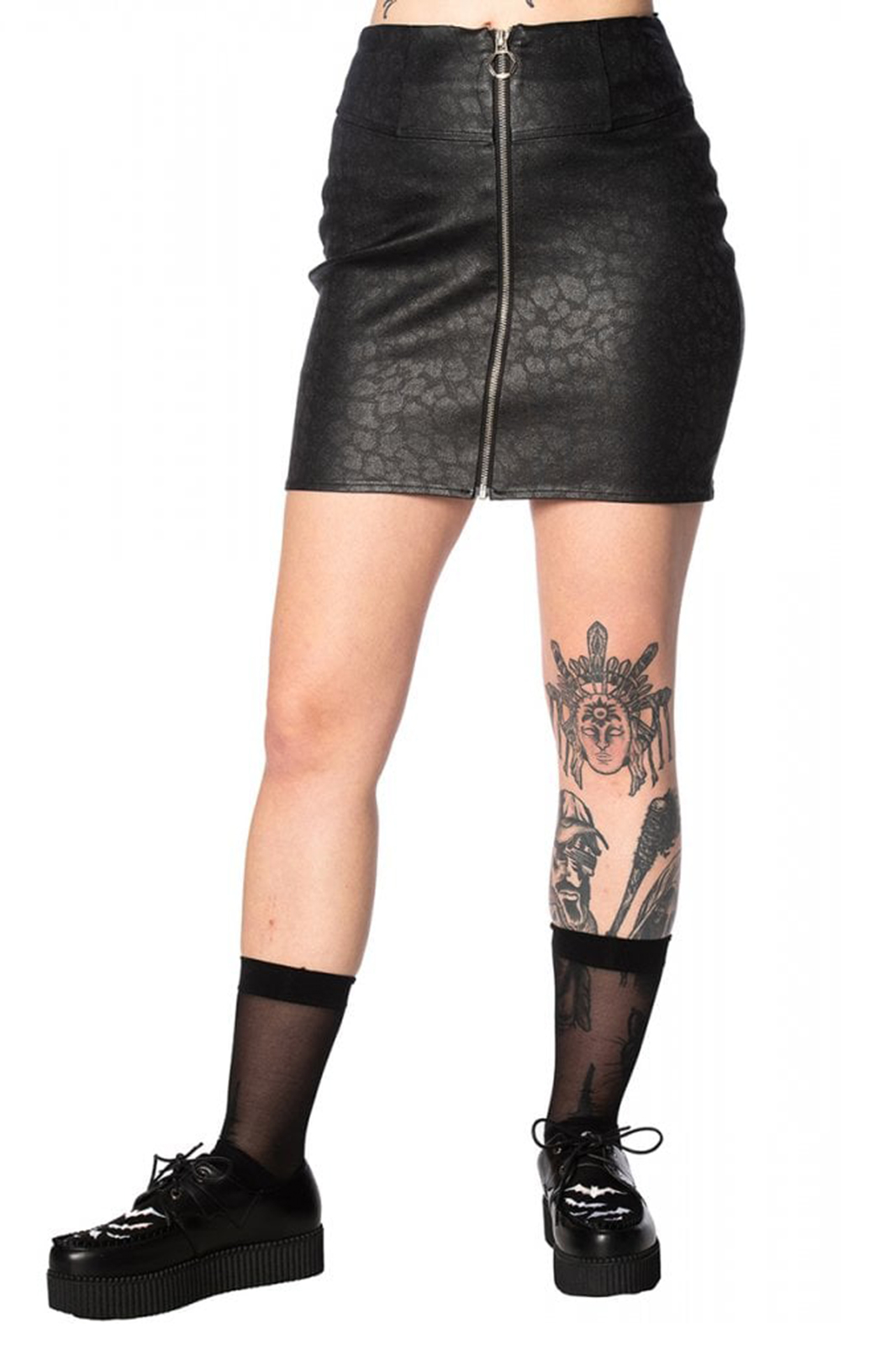 Glam Goth Leo Skirt Black