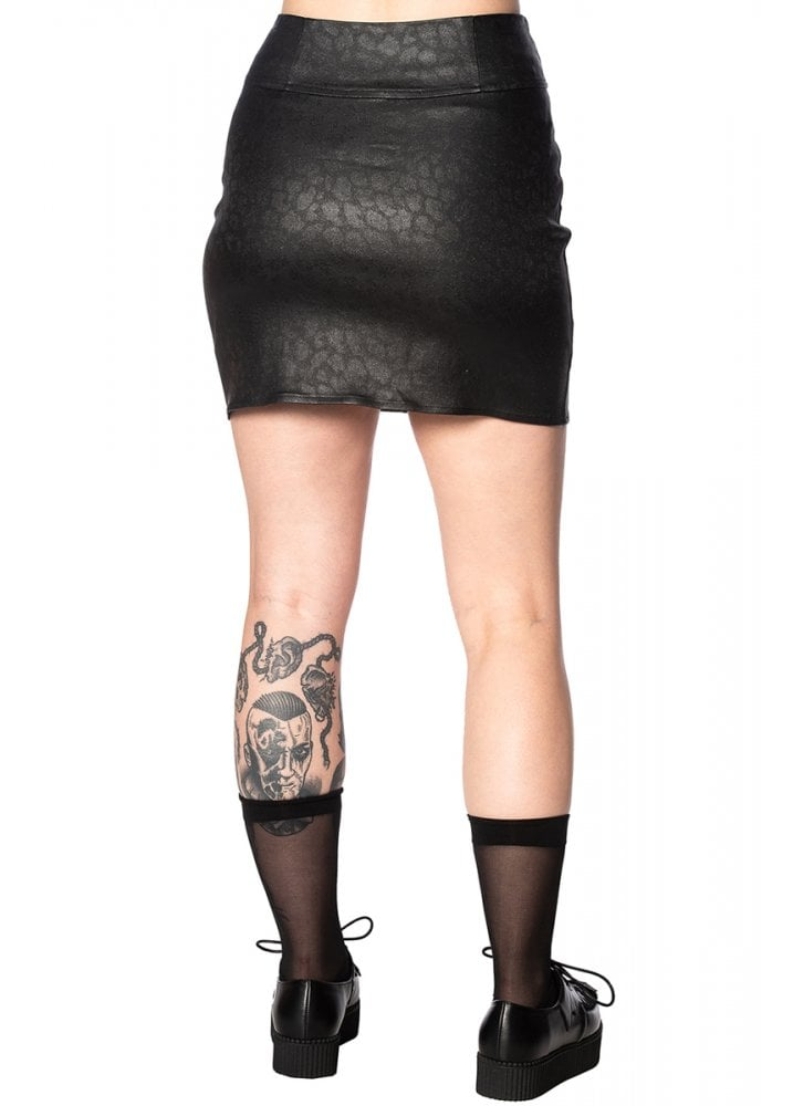 Glam Goth Leo Skirt Black