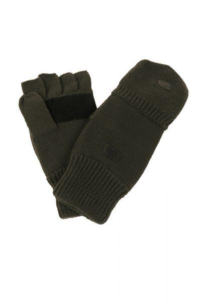 Knitted Finger/Thumb Gloves Olive Green