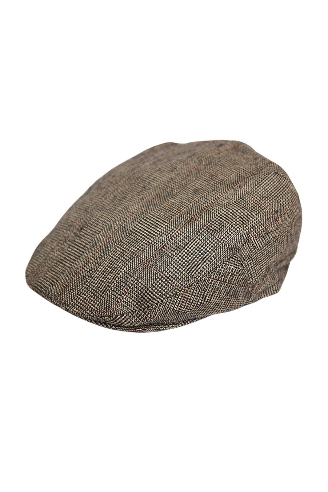 G&H Check Flat Cap Brown