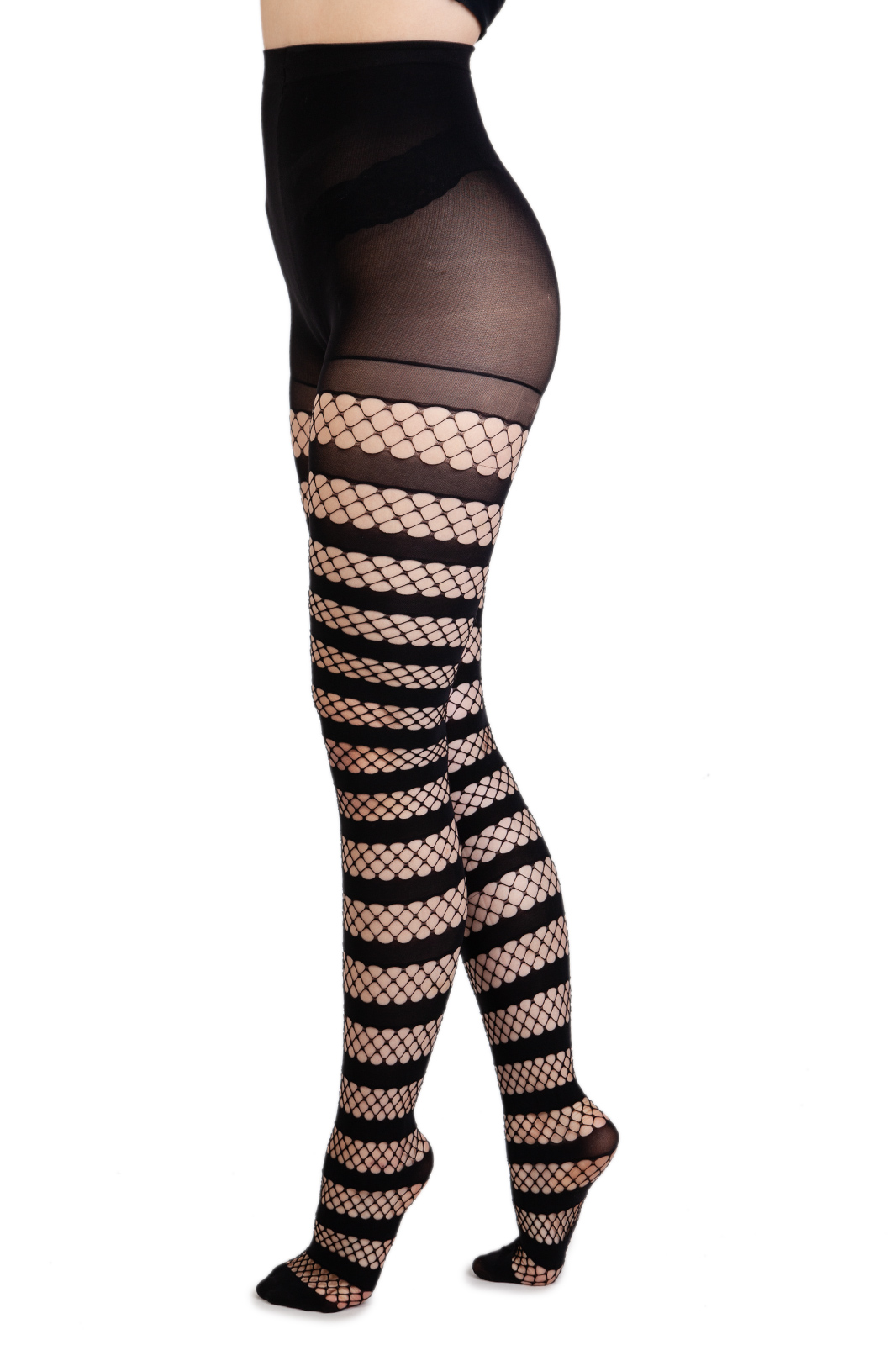 Fishnet Opaque Stripe tights Black