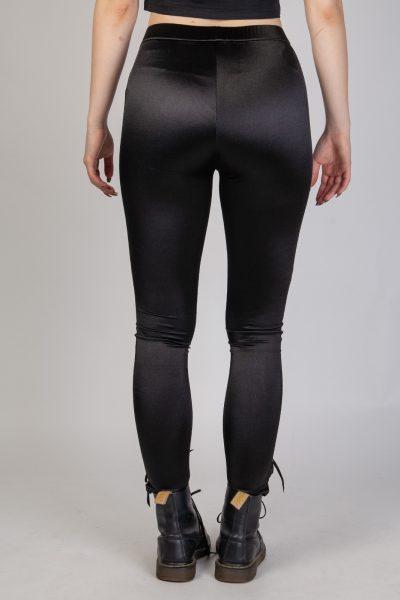 Lace Up Lycra Leggings Black