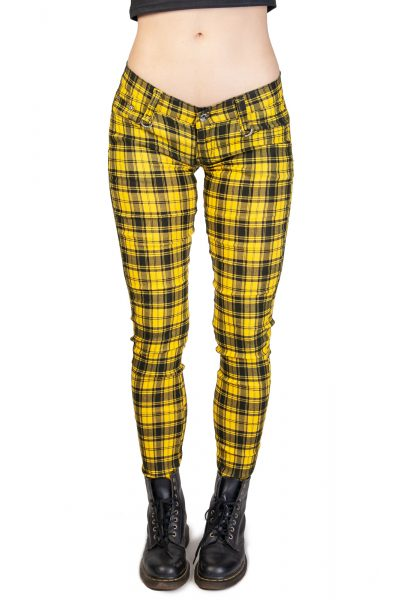 Check Skinny Jeans Yellow