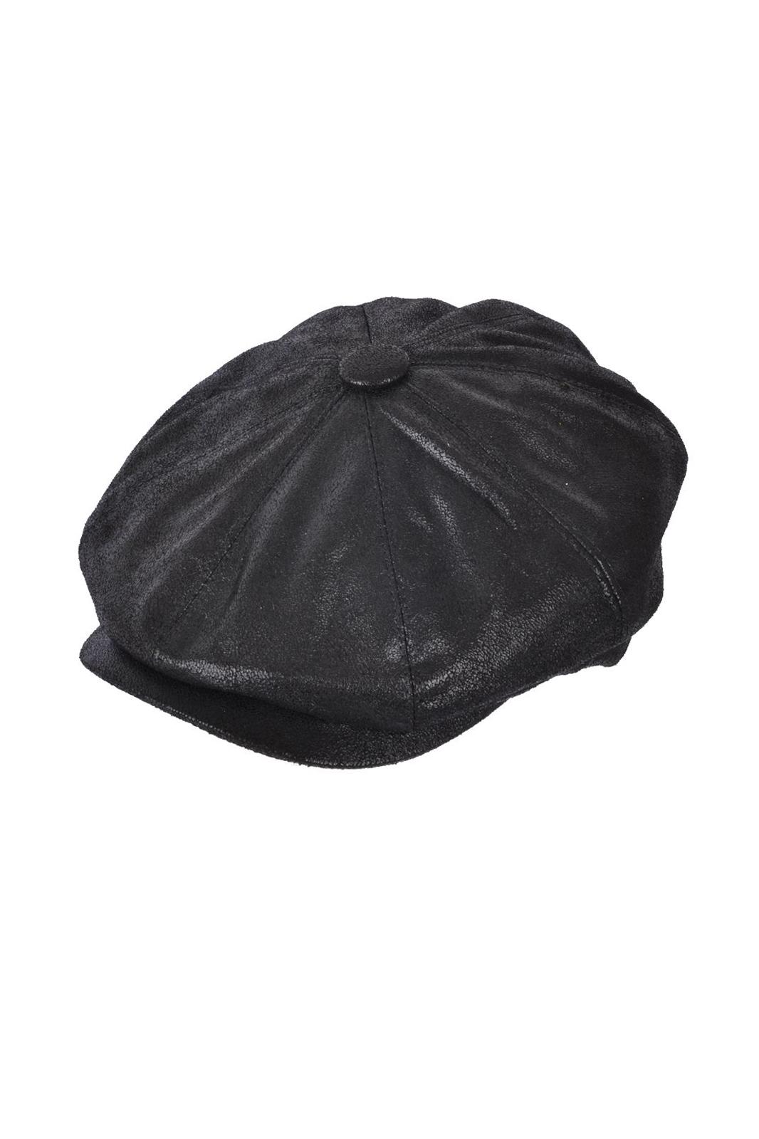 Maz PVC Leather look Newsboy Cap Black