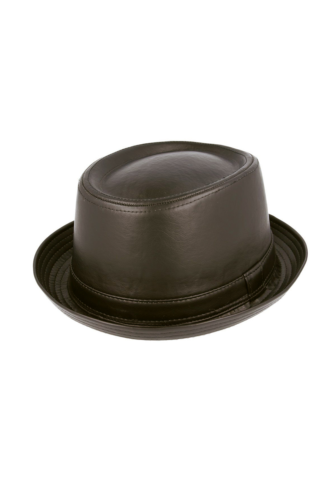 Galdwin Bond Leather Look Pork Pie Hat Black