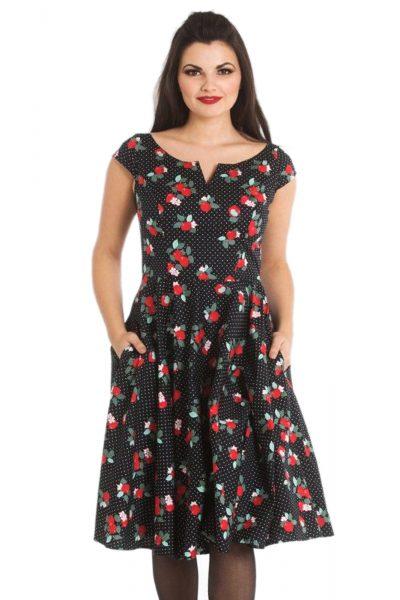 Apple Blossom 50s Dress Black