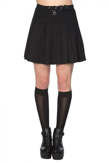 Pleated Ring Skirt Black