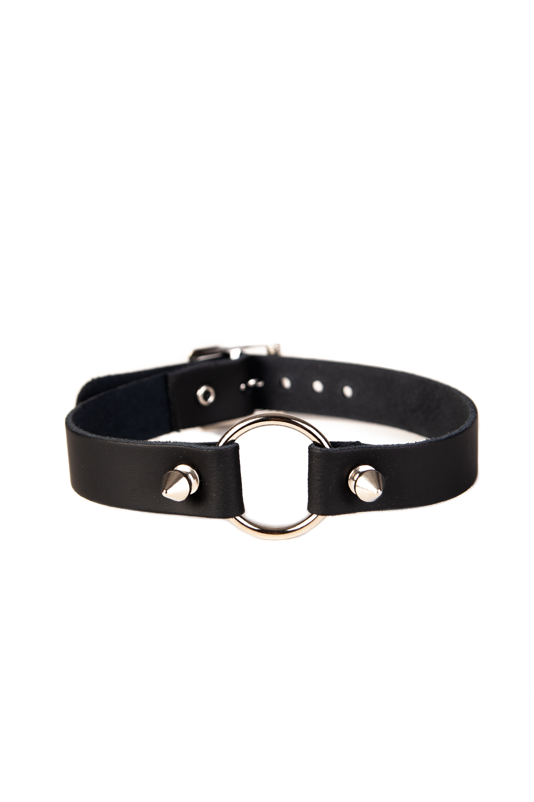 1 Row Ring With Spike Leather Choker Black