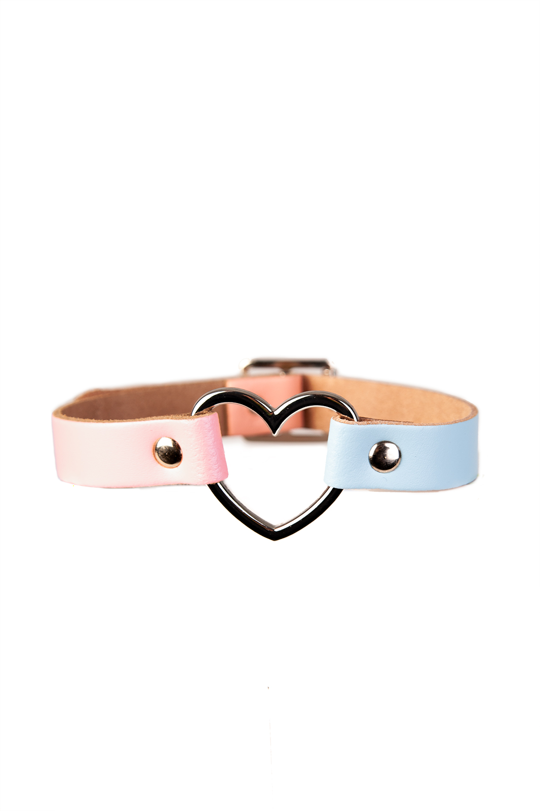 Heart Leather Choker Baby Blue And Pink