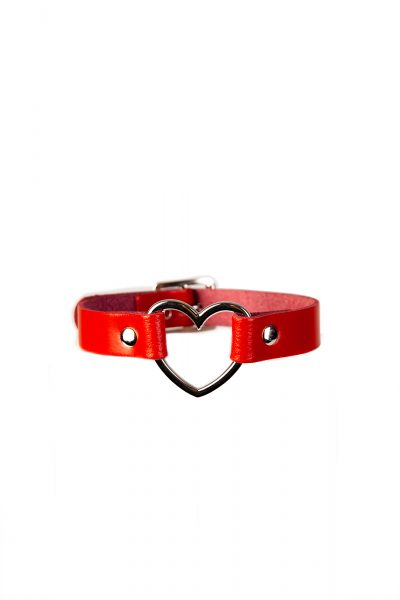 Heart Leather Choker Red