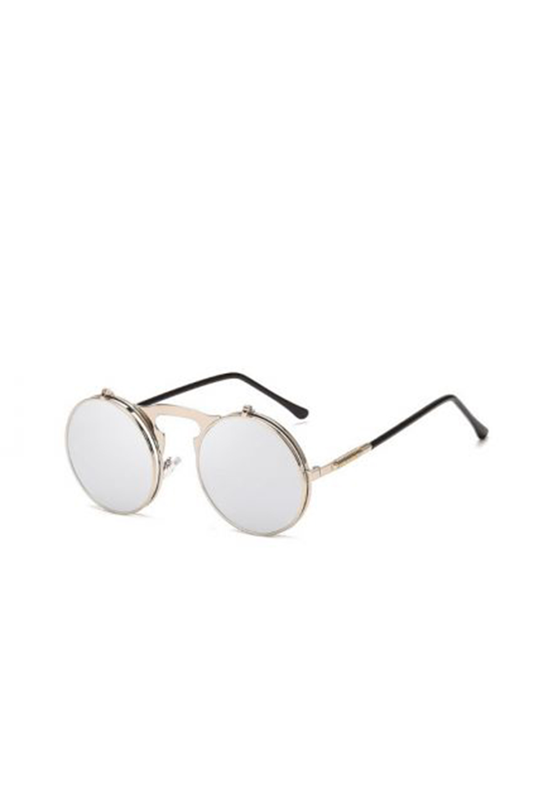Sunglasses Round Mirrored Flip Up Silver