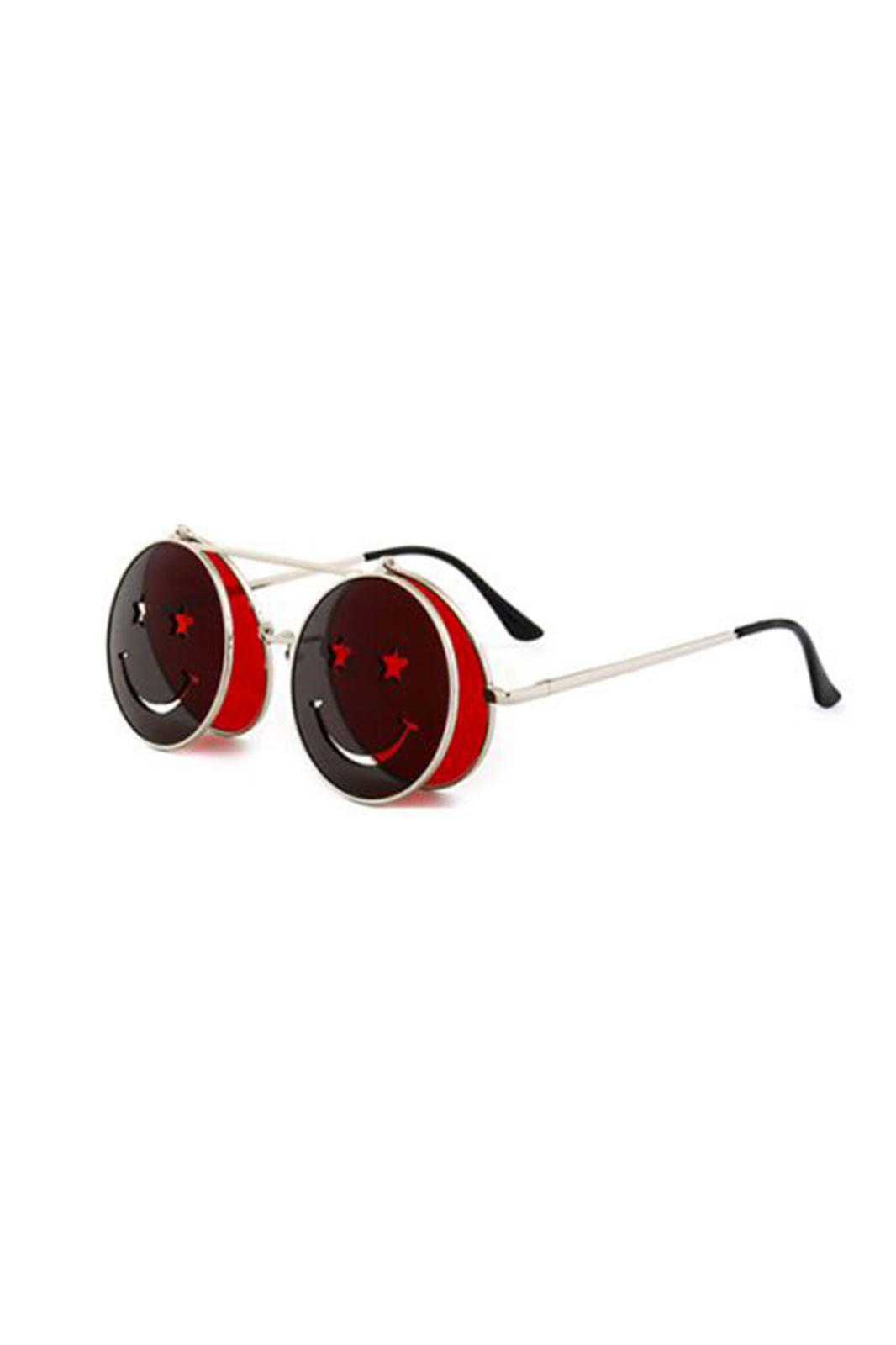 Sunglasses Smiley Face Flip Up Red