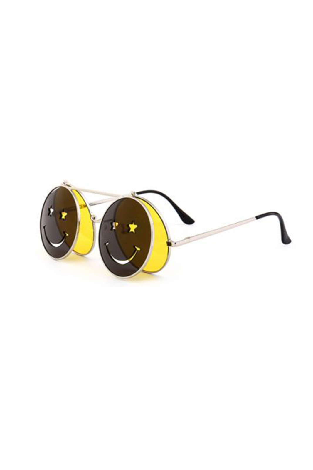 Sunglasses Smiley Face Flip Up Yellow