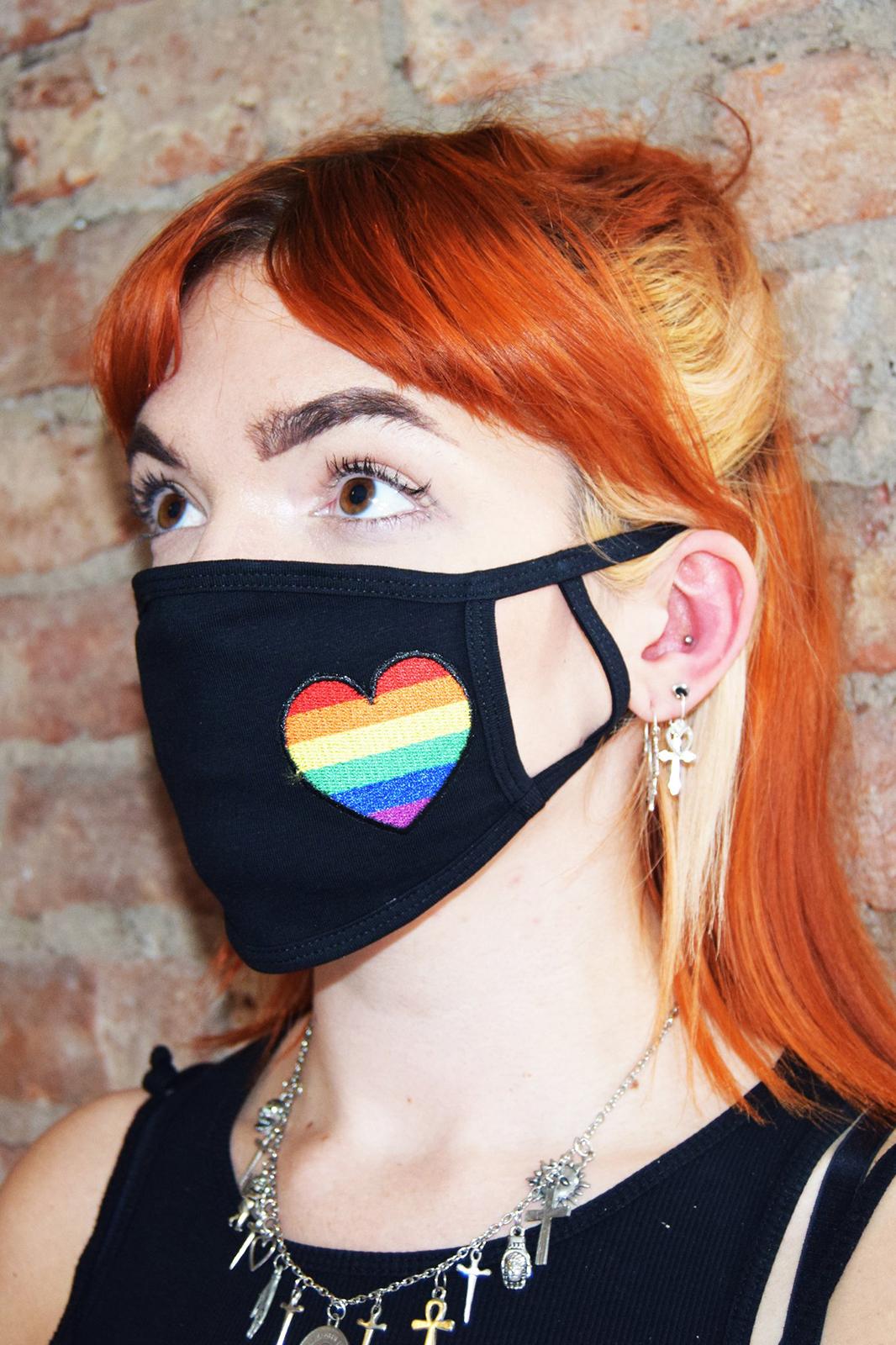 Rainbow Heart Face Mask