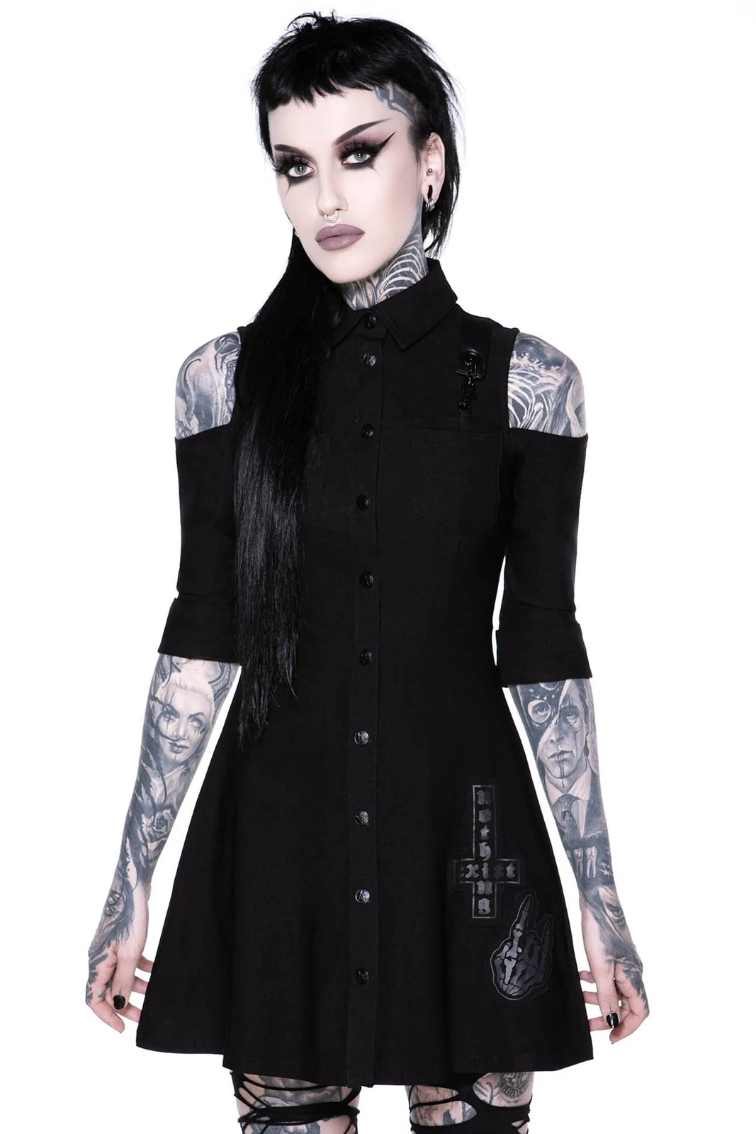 Paranormal Shirt-Dress Black