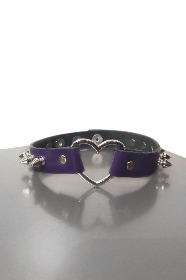 Heart Spike Leather Choker Purple